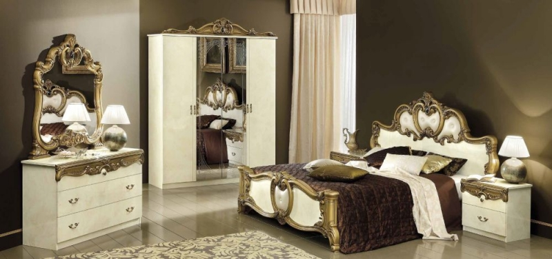 Camel Barocco Ivory and Gold Italian Bedside Cabinet