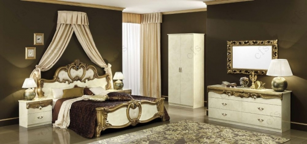 Camel Barocco Ivory and Gold Italian Dresser - Double