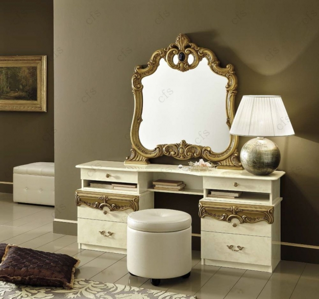 Camel Barocco Ivory and Gold Italian Vanity Dresser with Mirror