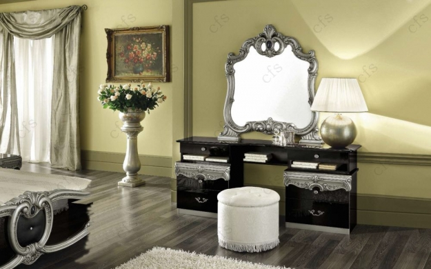 Camel Barocco Black and Silver Italian Vanity Dresser with Mirror
