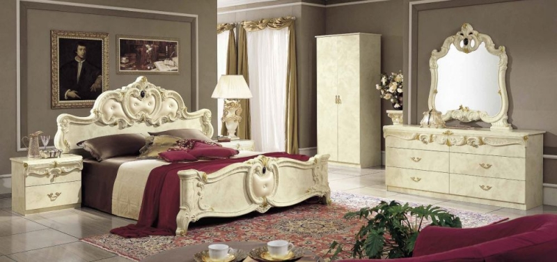 Camel Barocco Ivory Italian Leather Bed
