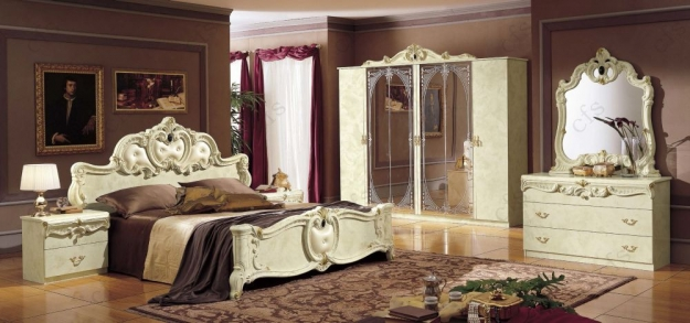 Camel Barocco Ivory Italian Dresser - Single with Mirror