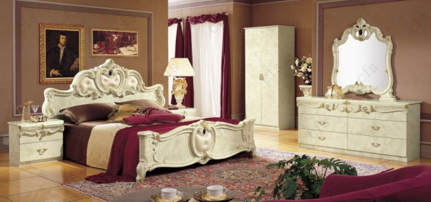 Camel Barocco Ivory Italian Dresser - Double with Mirror