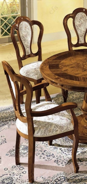 Camel Milady Walnut Italian Dining Set with 4 Chairs and 2 Armchairs