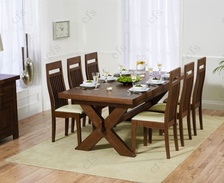 Mark Harris Avignon Solid Dark Oak 200cm Extending Dining Table with 6 Monte Carlo Dark Cream Chairs
