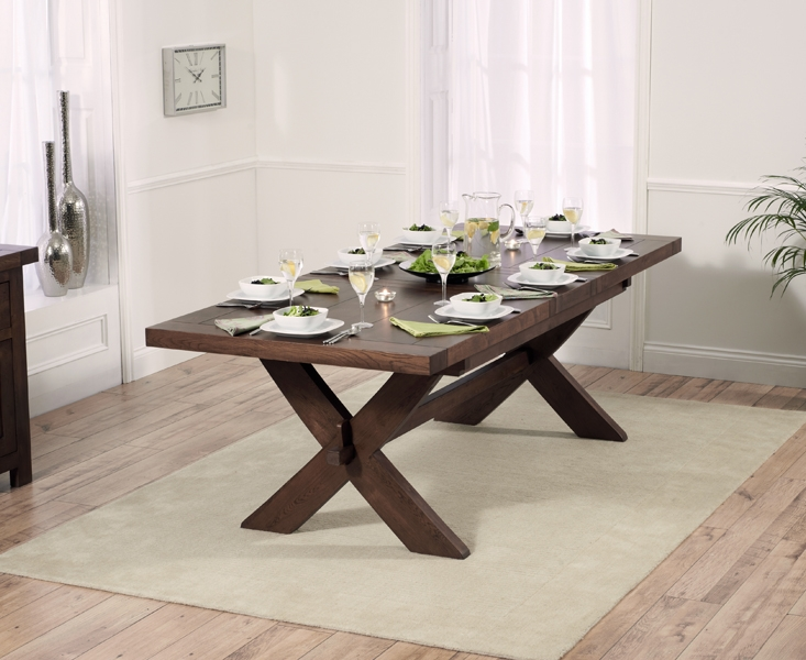 Mark Harris Avignon Solid Dark Oak Dining Set - 200cm Extending with 6 Monte Carlo Dark Cream Chairs