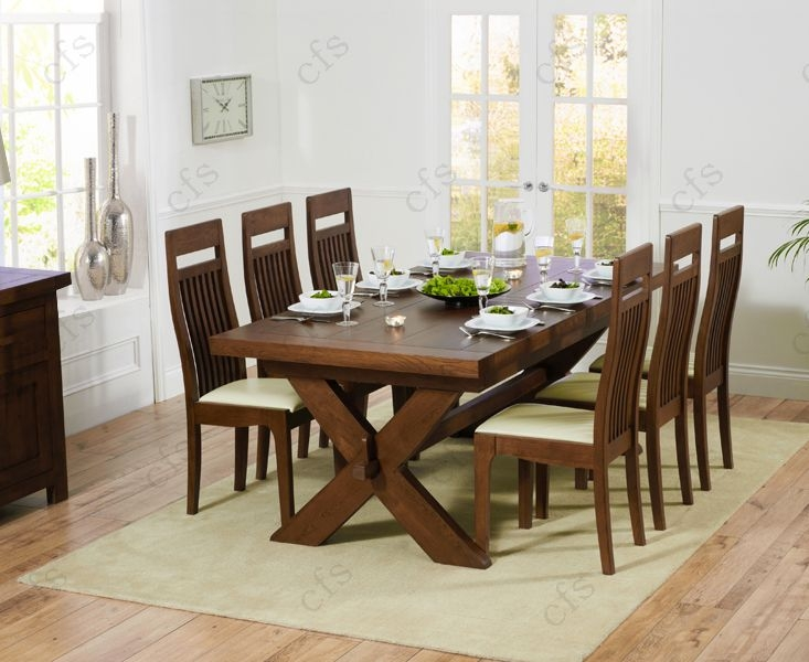 Mark Harris Avignon Solid Dark Oak 200cm Extending Dining Set with 6 Monte Carlo Dark Brown Dining Chairs