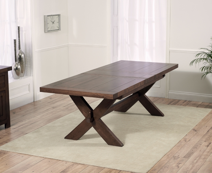 Mark Harris Avignon Dark Oak Extending Dining Table and 6 Monte Carlo Brown Chairs