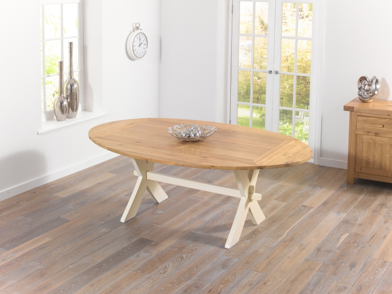 Mark Harris Avignon Oak and Cream Dining Table - 165cm Extending