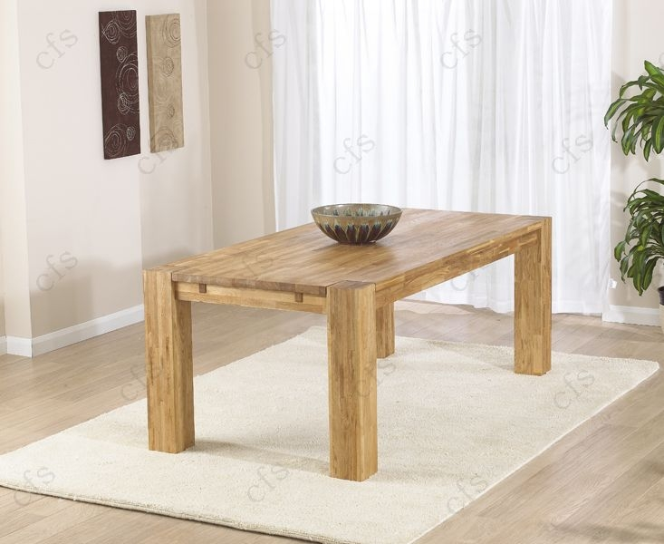 Mark Harris Madrid Solid Oak 200cm Dining Table with 6 Roma Cream Chairs