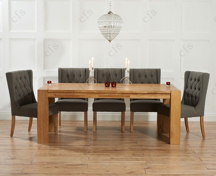 Mark Harris Madrid Solid Oak 200cm Dining Table with 6 Stefini Beige Chairs