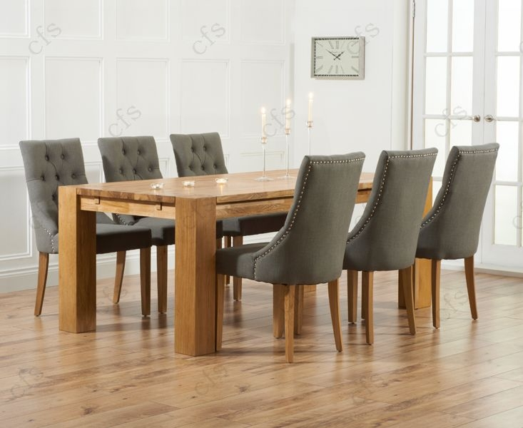Mark Harris Madrid Solid Oak 240cm Dining Table with 6 Pailin Beige Chairs