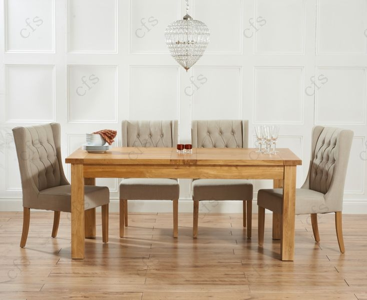 Mark Harris Rustique Solid Oak 180cm Extending Dining Table with 4 Stefini Grey Chair