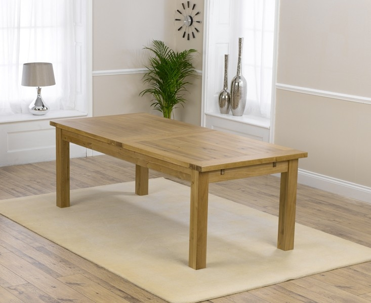 Mark Harris Rustique Solid Oak Dining Set - 220cm Extending with 6 Pailin Beige Chairs