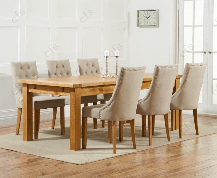 Mark Harris Rustique Solid Oak 220cm Extending Dining Set with 6 Pailin Grey Dining Chairs