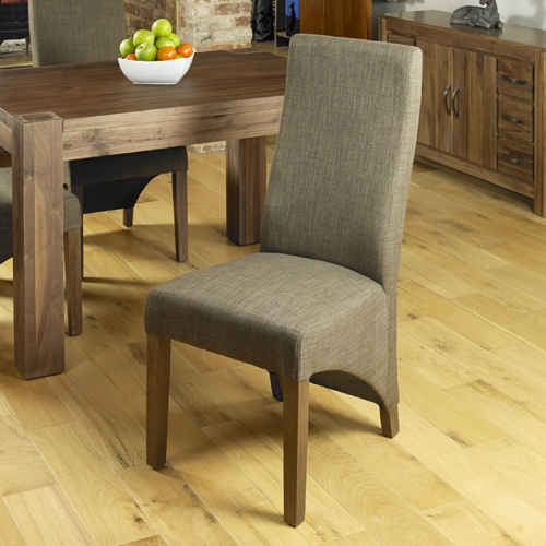 Baumhaus Shiro Walnut Hazelnut Upholstered Dining Chair (Pair)