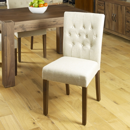 Baumhaus Shiro Walnut Flare Back Biscuit Upholstered Dining Chair (Pair)