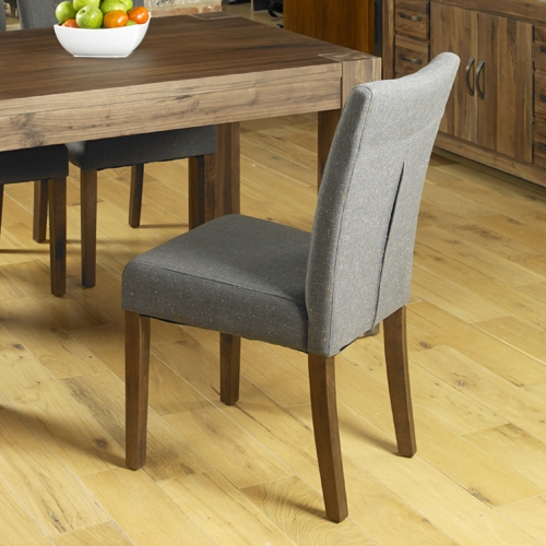 Baumhaus Shiro Walnut Flare Back Slate Upholstered Dining Chair (Pair)