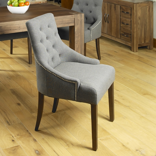 Baumhaus Shiro Walnut Accent Slate Upholstered Dining Chair (Pair)