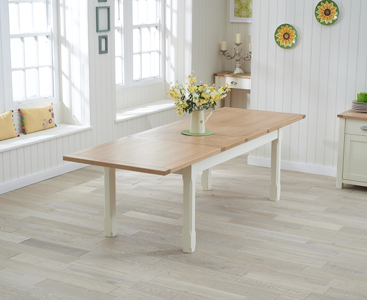 Mark Harris Sandringham Oak and Cream Dining Table - 180cm Extending