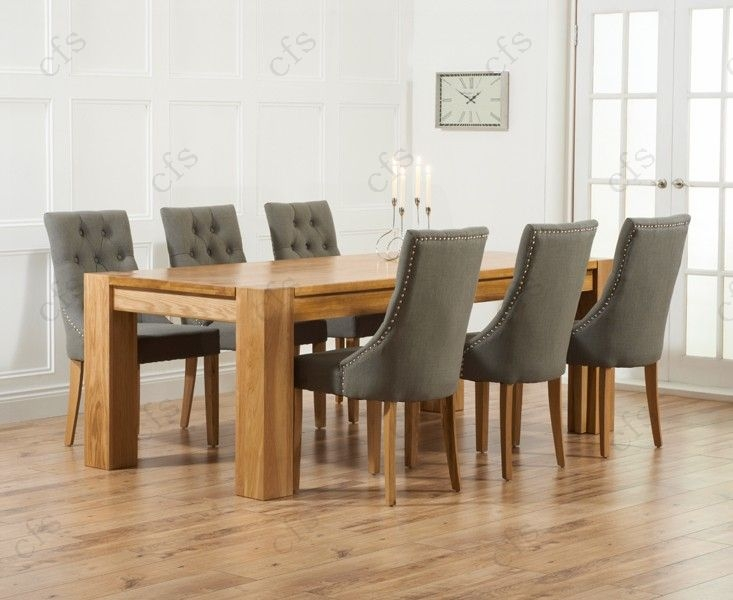 Mark Harris Tampa Solid Oak 220cm Dining Set with 6 Pailin Beige Dining Chairs