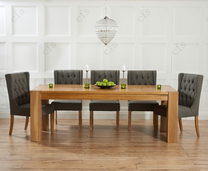 Mark Harris Tampa Solid Oak 220cm Dining Set with 6 Stefini Beige Dining Chairs