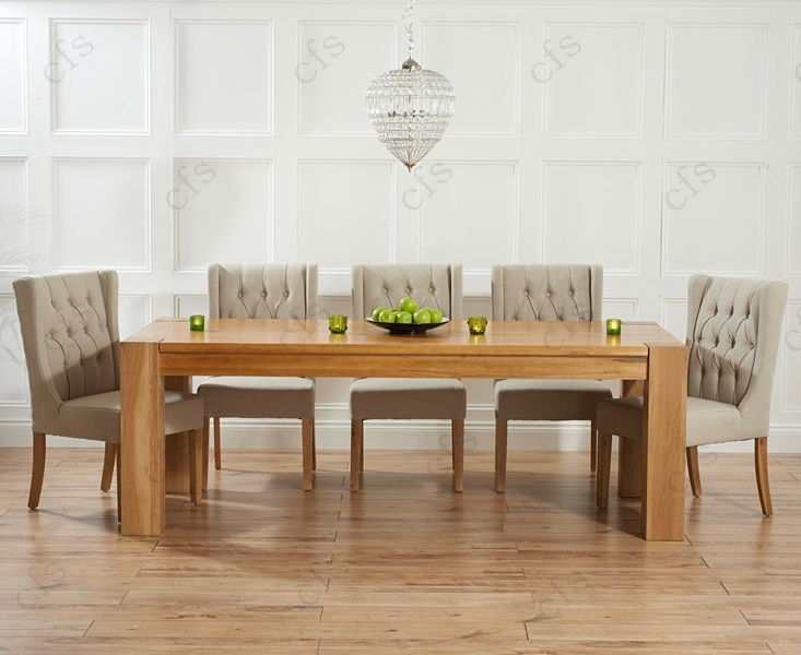 Mark Harris Tampa Solid Oak 220cm Dining Table with 6 Stefini Grey Chairs