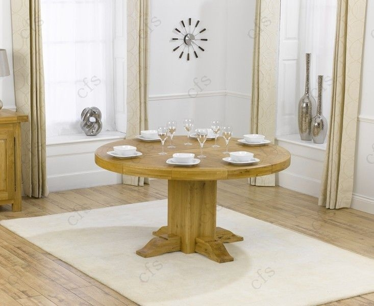 Mark Harris Turin Solid Oak 150cm Round Dining Table with 6 Stefini Beige Chairs