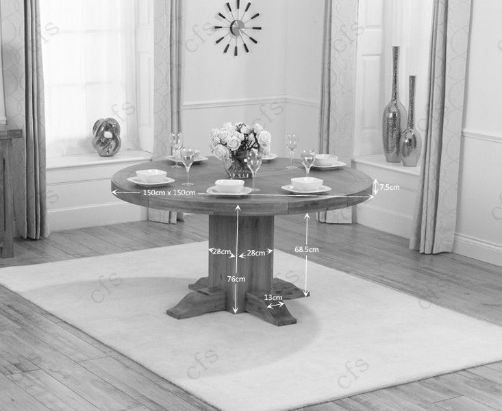 Mark Harris Turin Solid Oak 150cm Round Dining Table with 6 Stefini Grey Chairs