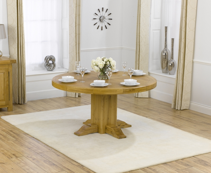 Mark Harris Turin Solid Oak Dining Set - 150cm Round with 4 Pailin Grey Chairs