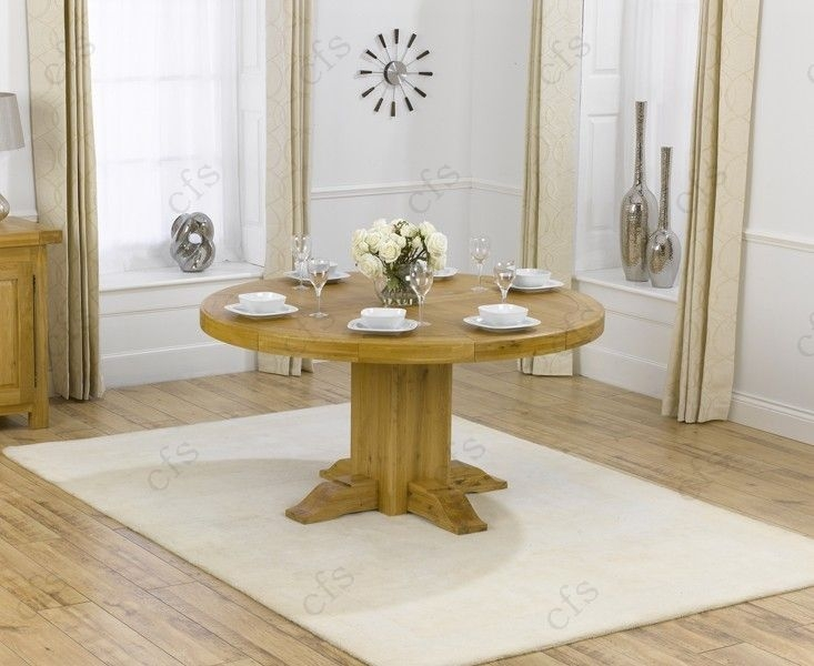 Mark Harris Turin Solid Oak 150cm Round Dining Table with 6 Monte Carlo Brown Chairs