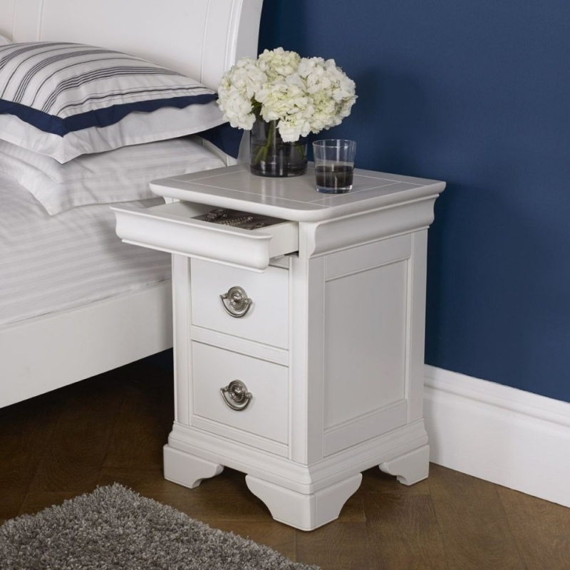 Bentley Designs Chantilly White Bedside Cabinet - 2 Drawer