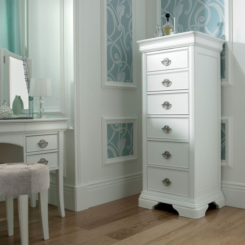 Bentley Designs Chantilly White Chest of Drawer - 6 Drawer Tall
