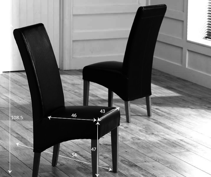 Mark Harris Roma Oak Dining Chair - Black Bycast Leather (Pair)