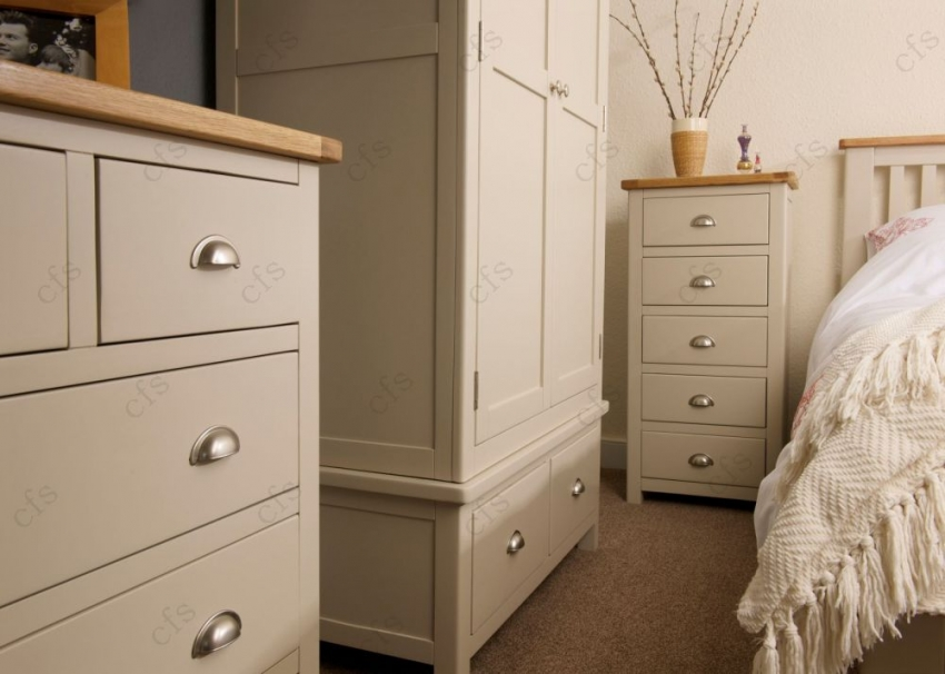 Lundy Stone Grey Painted Wardrobe - Gents
