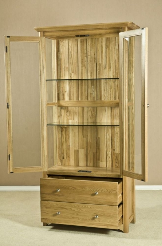 Tuscany Oak Glass Display Cabinet