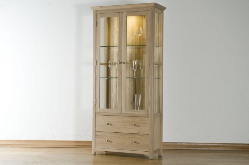 Buy toulouse oak glass display cabinet online cfs uk - Cabinet moliere toulouse ...