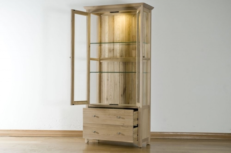 Buy toulouse solid oak 2 door 2 drawer glass display cabinet online cfs uk - Cabinet moliere toulouse ...