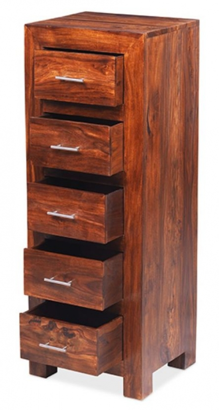 Cuba Sheesham Wellington 5 Chest of Drawer