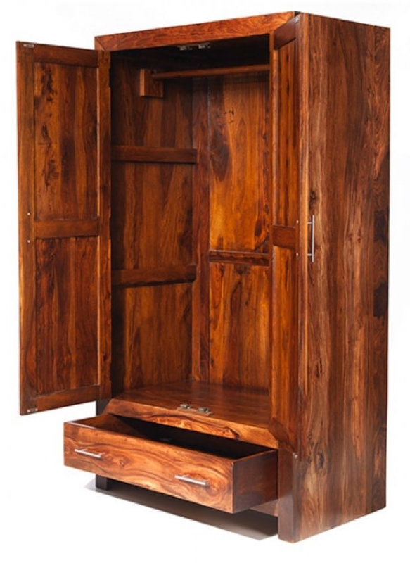 Cuba Sheesham 2 Door 1 Drawer Wardrobe