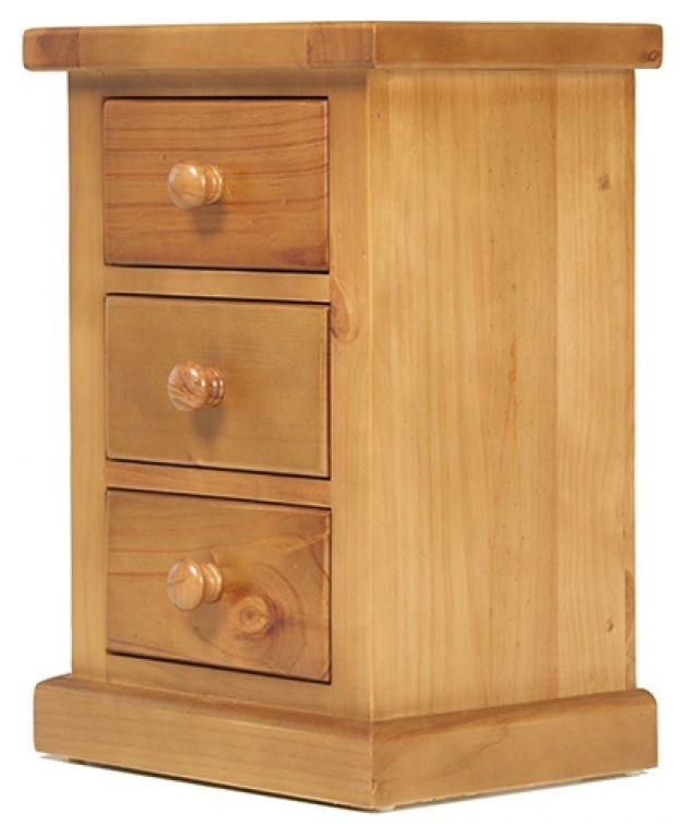 Chunky Pine Large 3 Drawer Bedside Cabinet