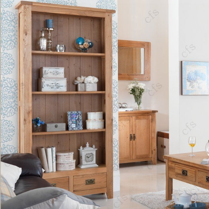 Cherbourg Oak Tall Bookcase With Drawers