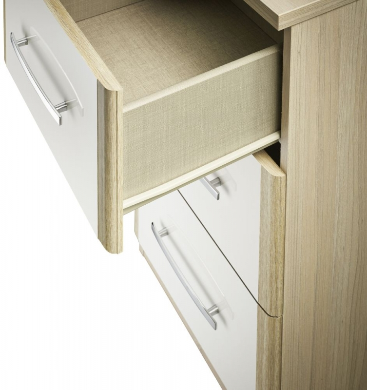 Kingstown Azure White Chest of Drawer - 3 Drawer Narrow