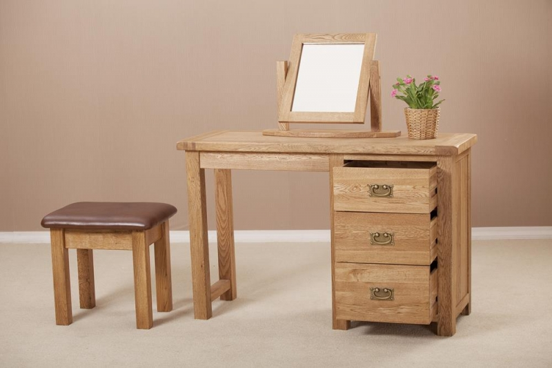 Country Oak Single Pedestal Dressing Table