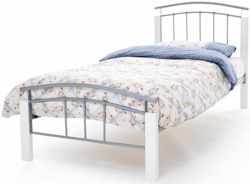 Serene Tetras Metal Bed - White and Silver