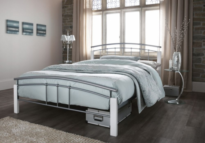Serene Tetras White and Silver Metal Bed