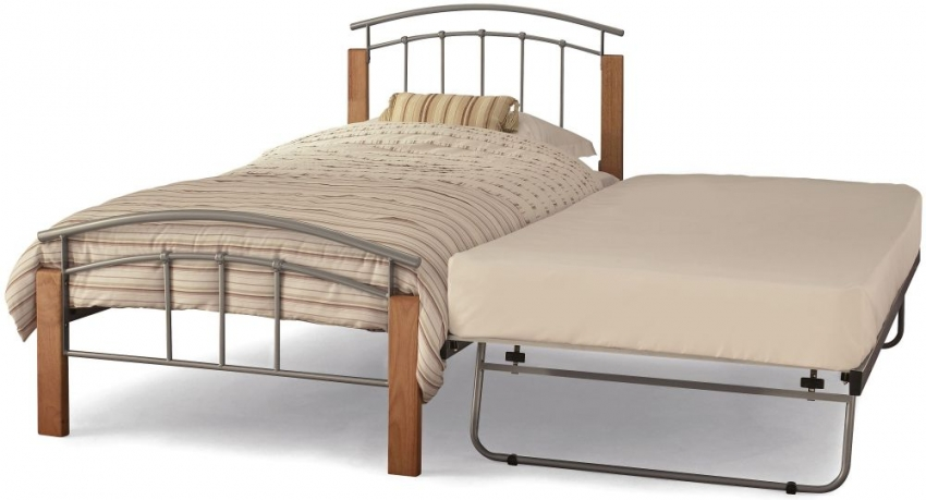 Serene Tetras Beech and Silver Metal Guest Bed