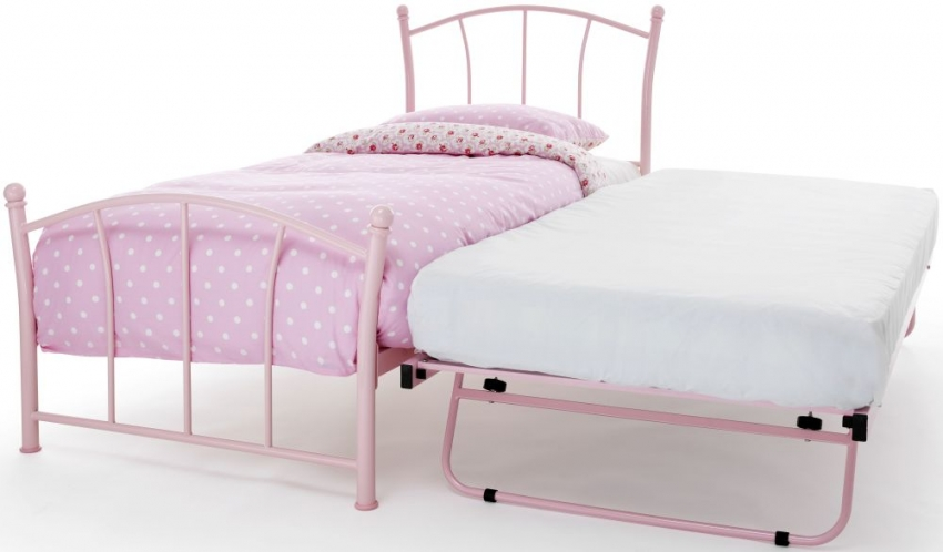 Serene Penny Pink Gloss Metal Guest Bed