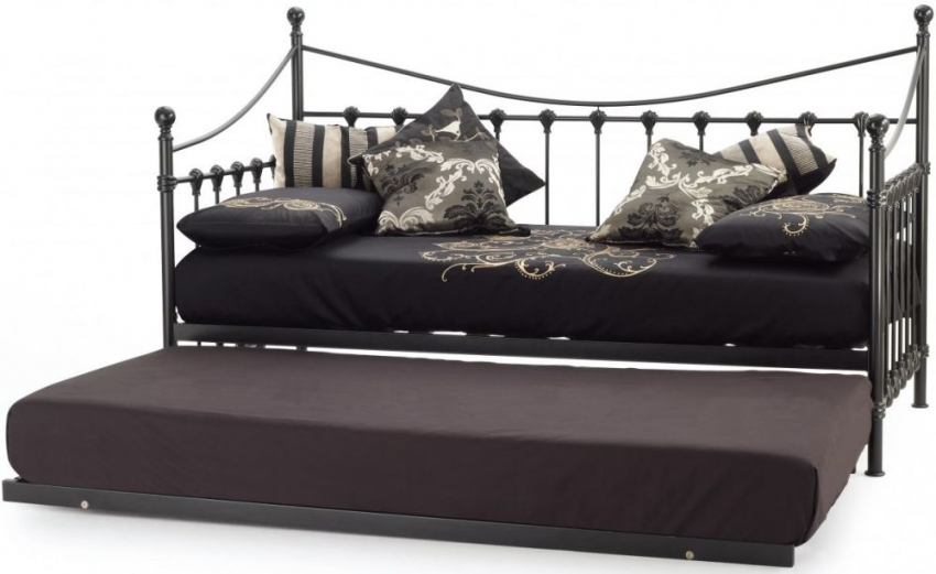 Serene Marseilles Black Metal Day Bed with Guest Bed