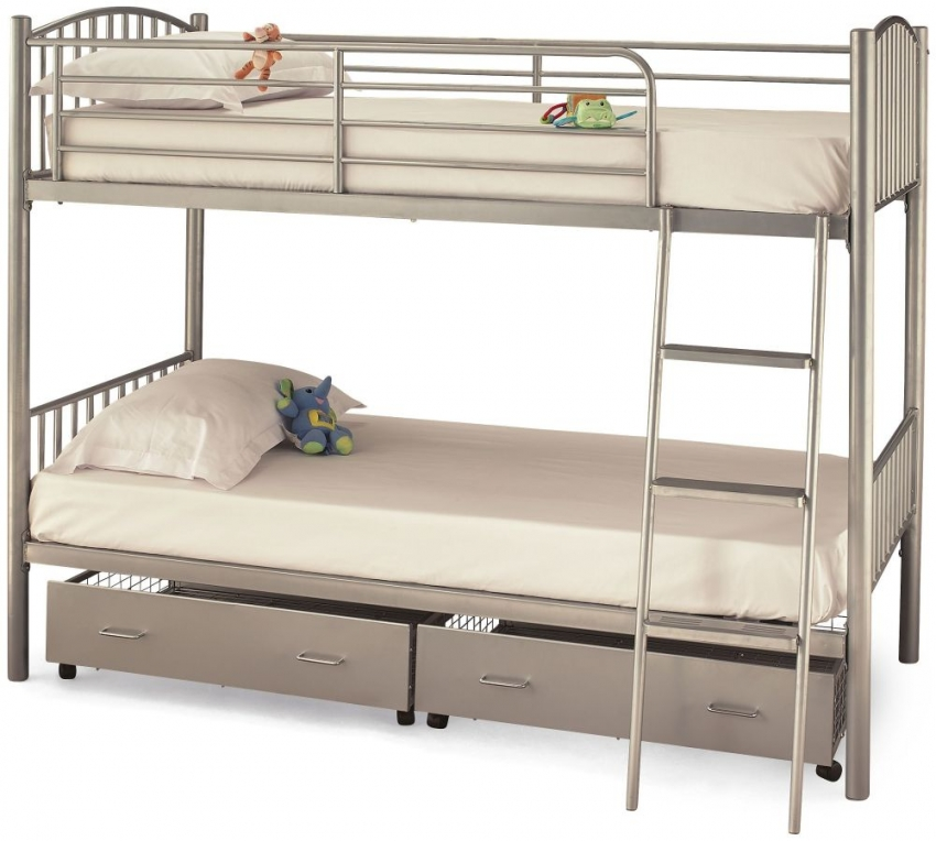 Serene Oslo Twin Silver Metal Bunk Bed